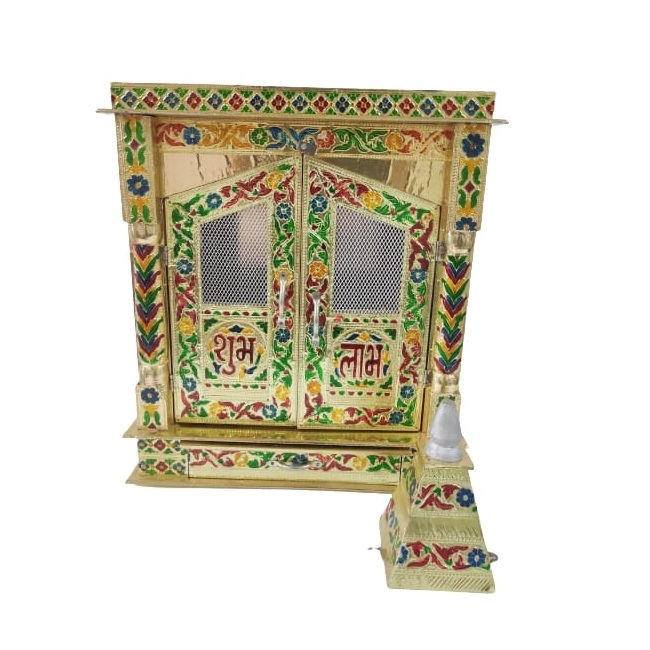 Small Meenakari Wooden Temple for Home