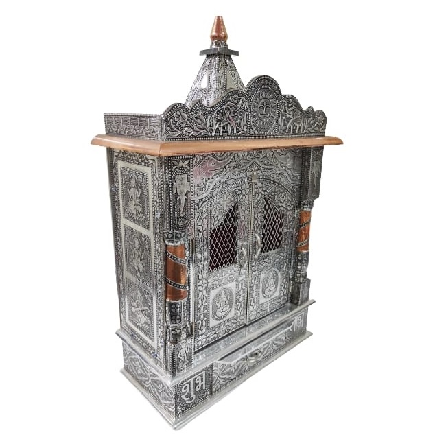 small oxodized wooden temple mandir for home