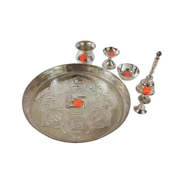 silver plated brass aarti thali set