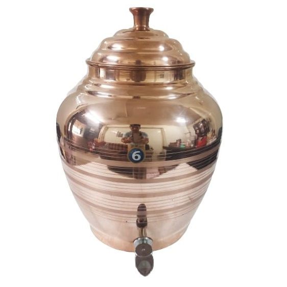 copper water matka dispenser with tap pot